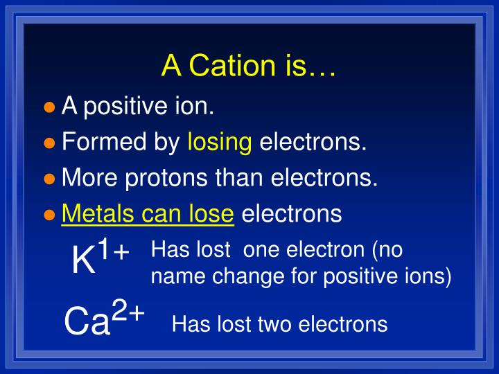 A Cation is…