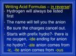 writing acid formulas in reverse