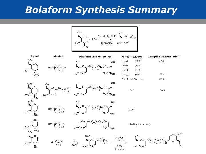 Bolaform Synthesis Summary