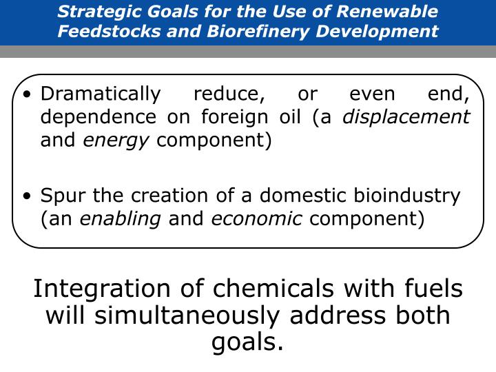 Strategic Goals for the Use of Renewable Feedstocks and Biorefinery Development