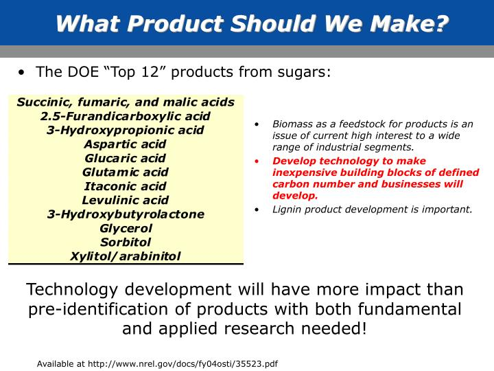 "The DOE ""Top 12"" products from sugars:"