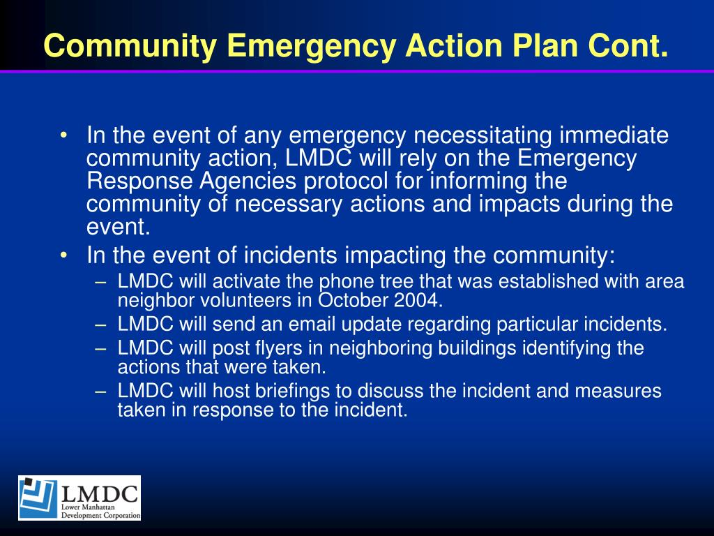 Community Emergency Action Plan Cont.