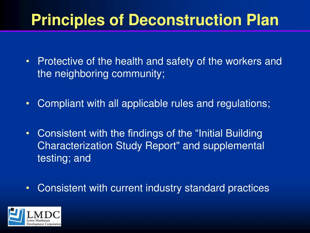 Principles of Deconstruction Plan