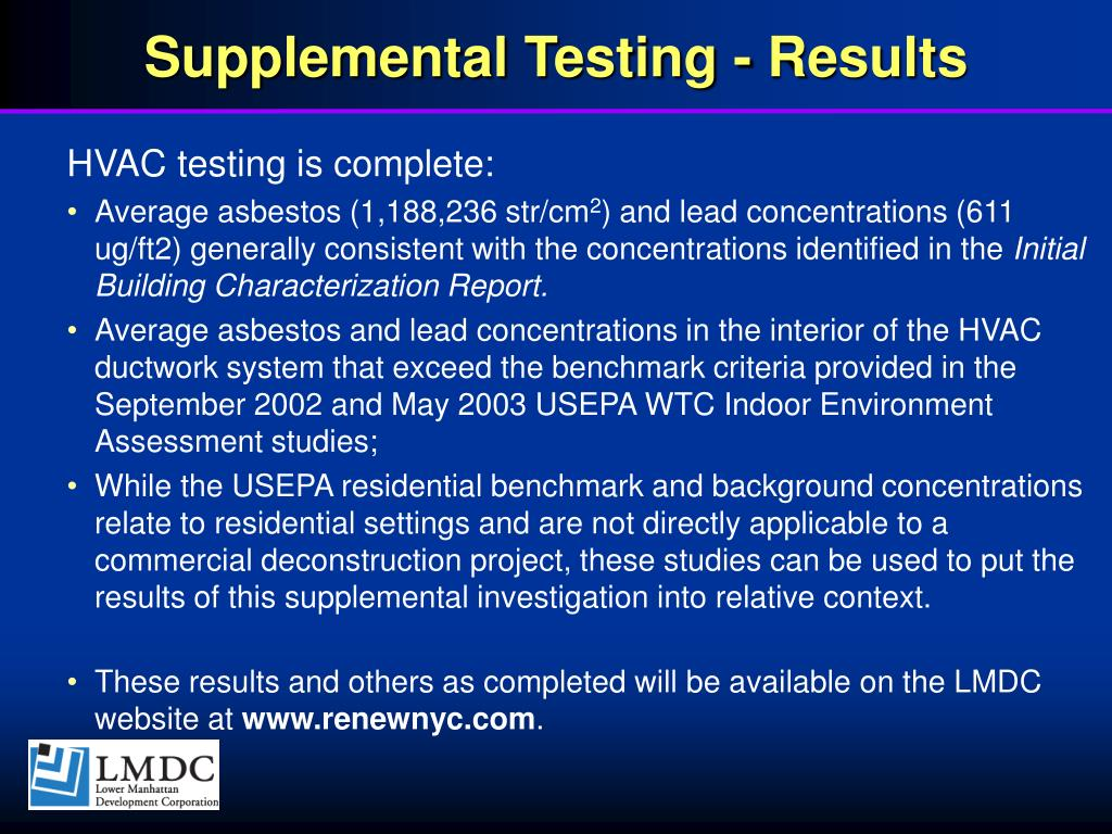 Supplemental Testing - Results