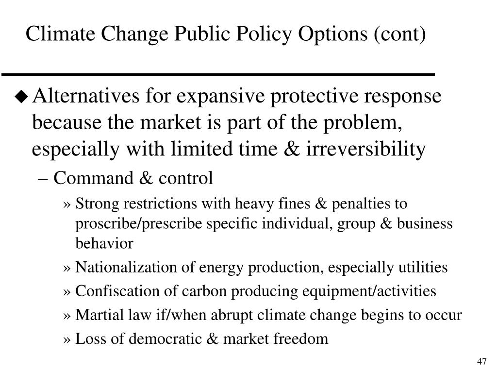 Climate Change Public Policy Options (cont)