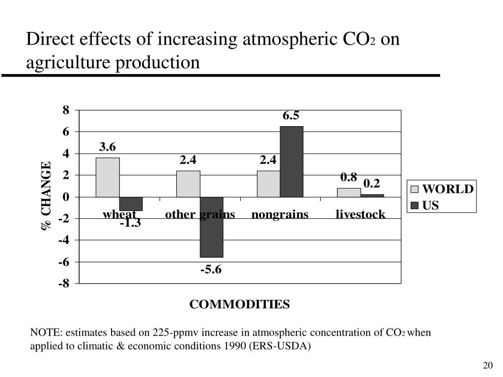 Direct effects of increasing atmospheric CO