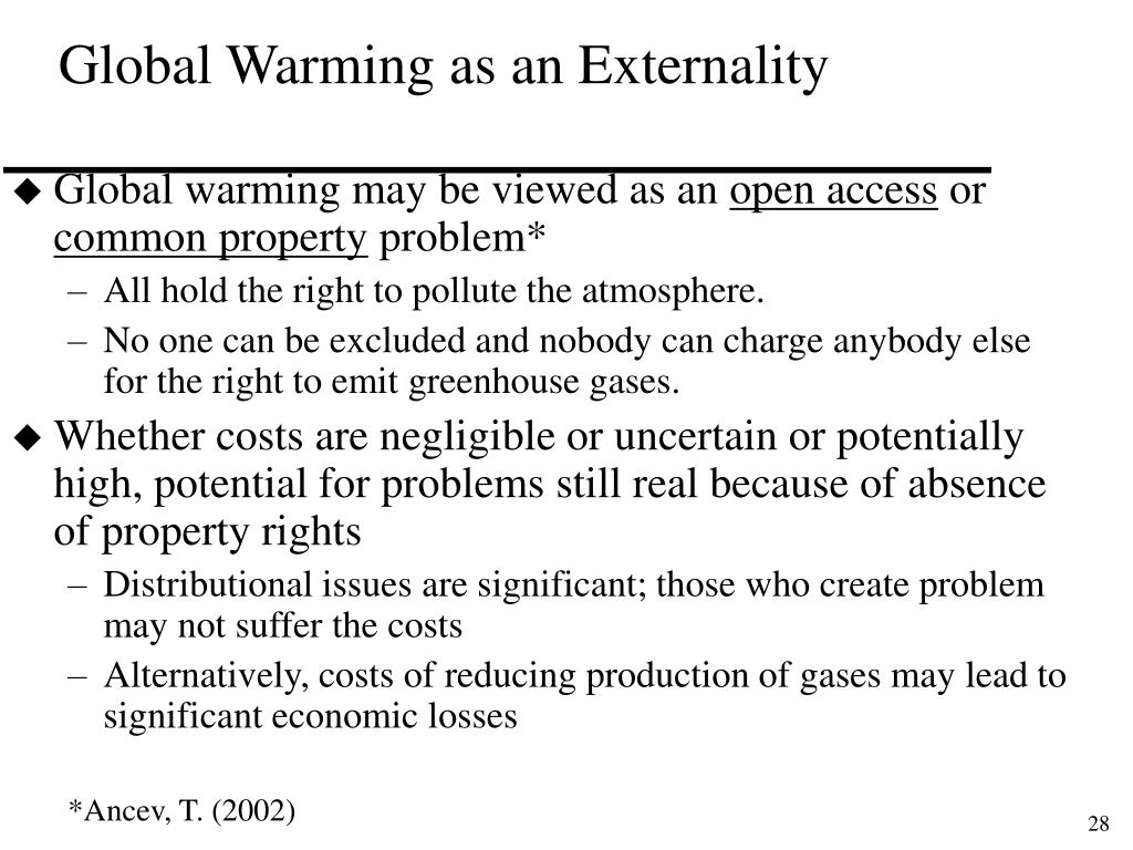 Global Warming as an Externality