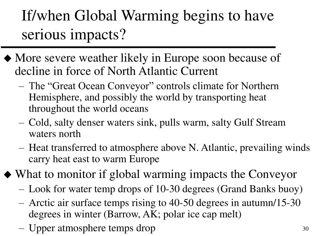 If/when Global Warming begins to have serious impacts?