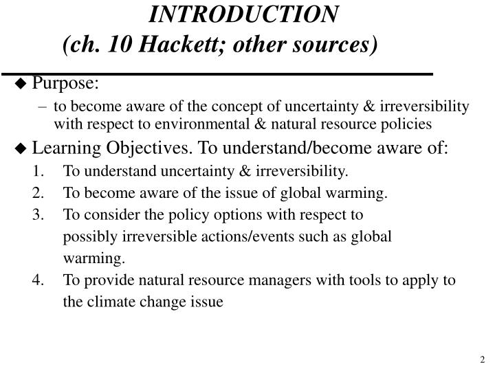 Introduction ch 10 hackett other sources