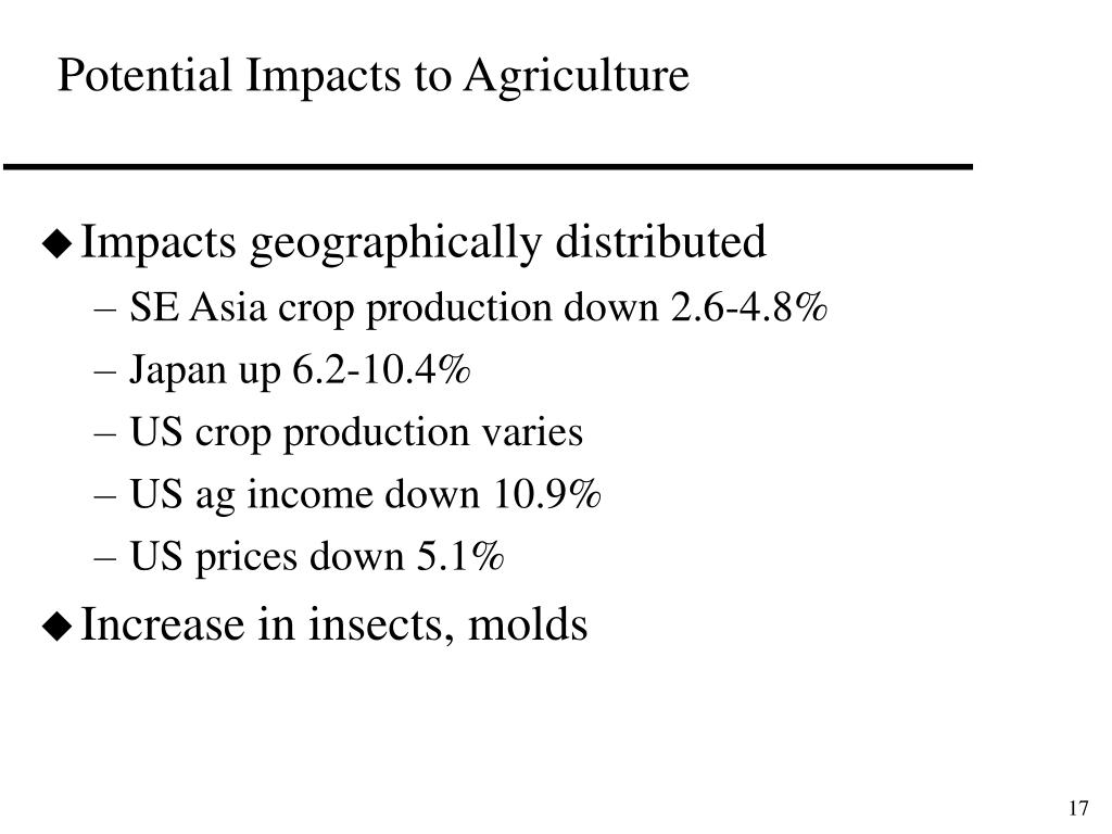 Potential Impacts to Agriculture