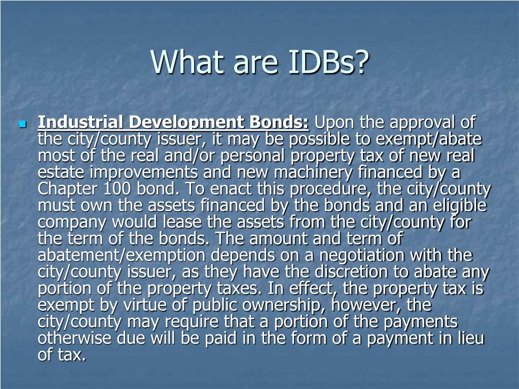 What are IDBs?