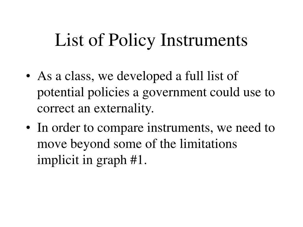 List of Policy Instruments