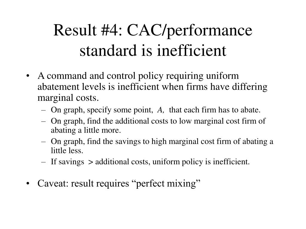 Result #4: CAC/performance standard is inefficient
