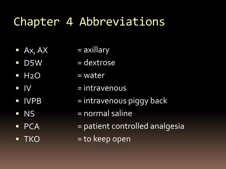 Chapter 4 Abbreviations