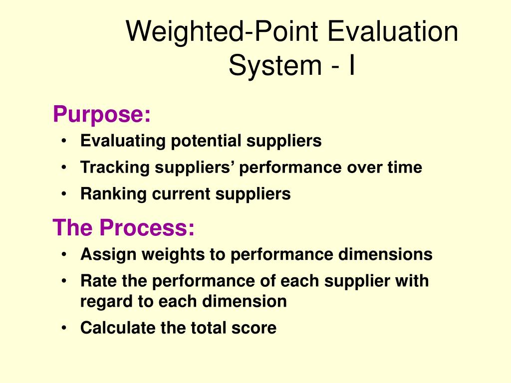 Weighted-Point Evaluation System - I