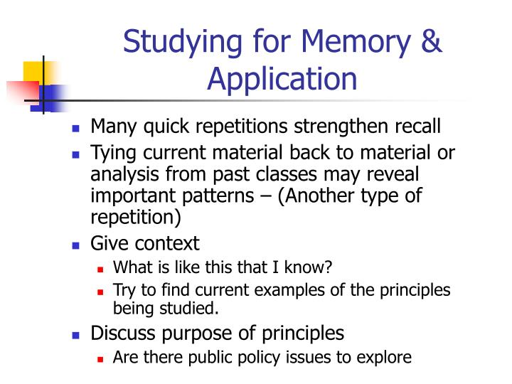 Studying for memory application