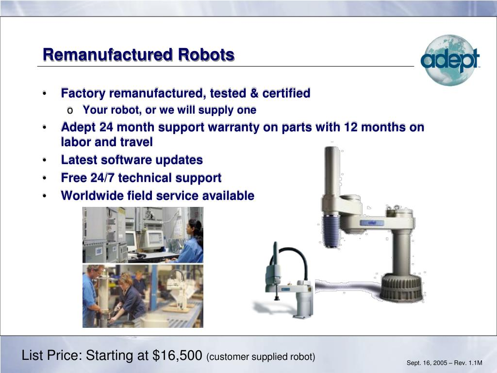 Remanufactured Robots