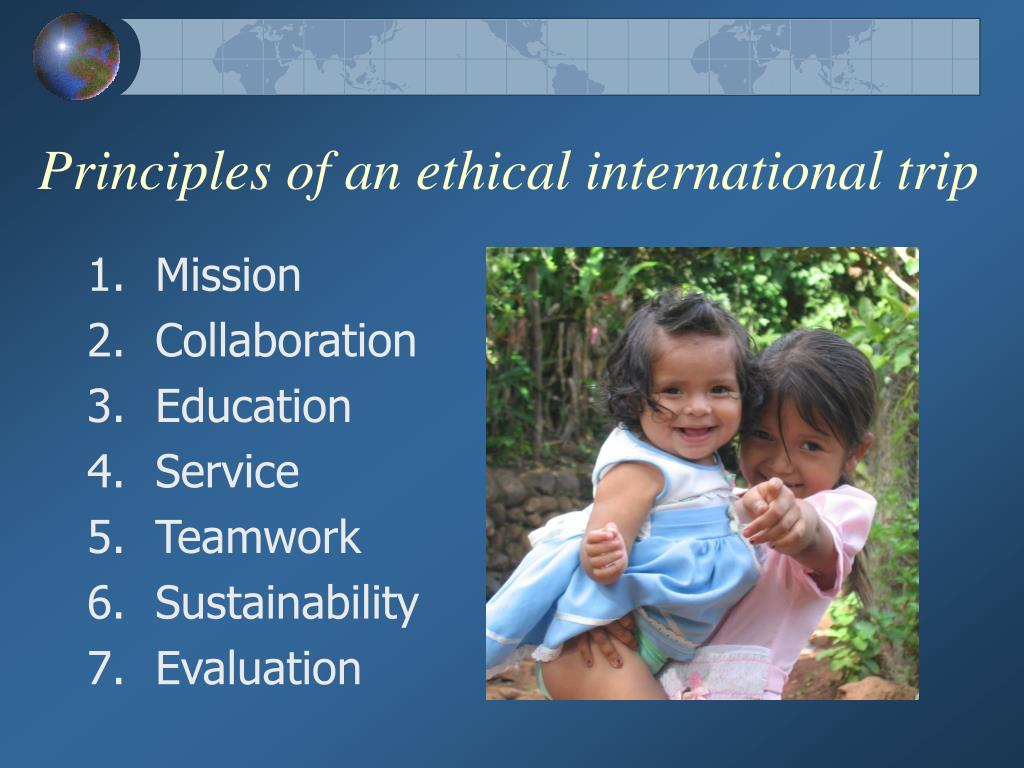 Principles of an ethical international trip
