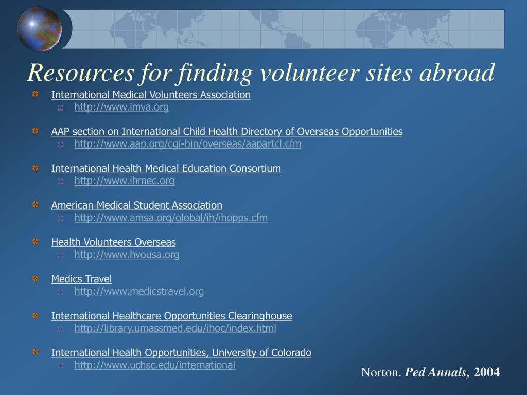 Resources for finding volunteer sites abroad