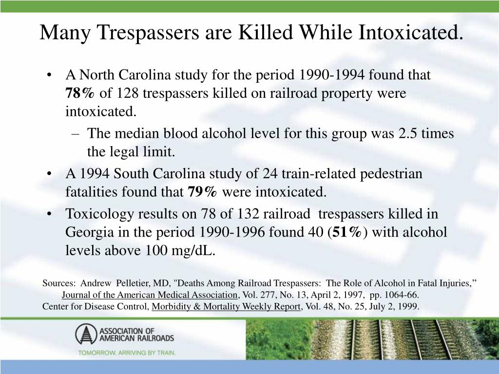 Many Trespassers are Killed While Intoxicated.