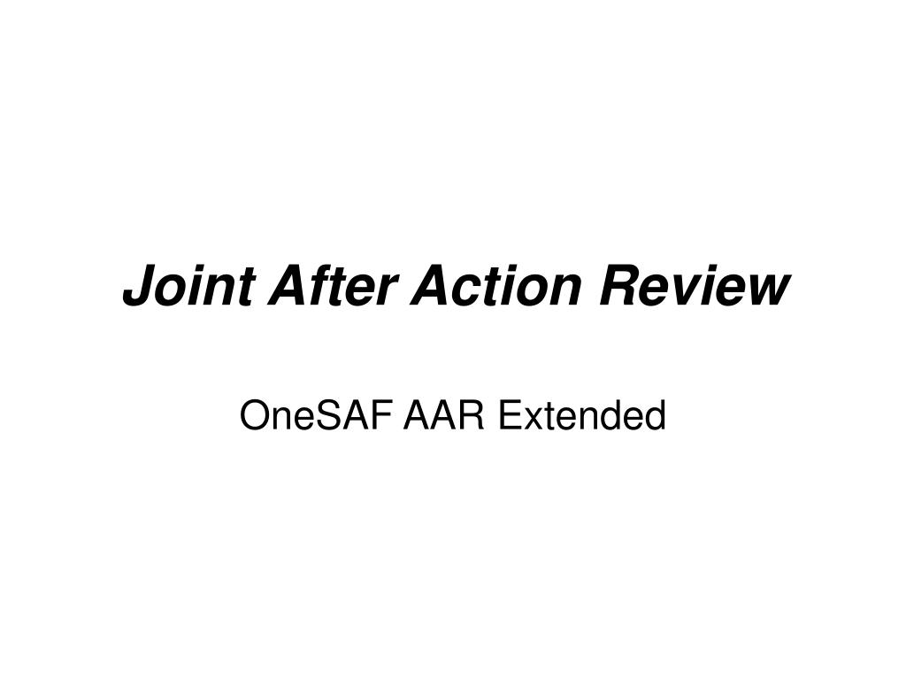 Joint After Action Review