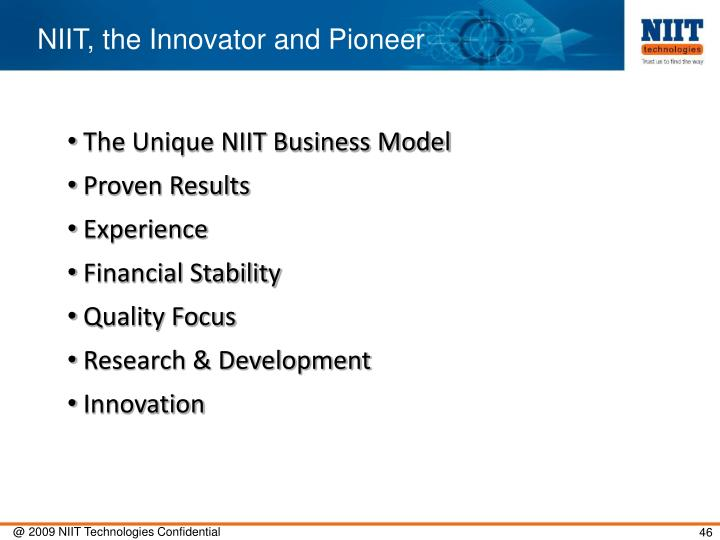 NIIT, the Innovator and Pioneer