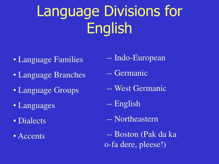 Language Divisions for English