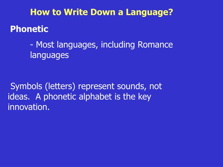 How to Write Down a Language?