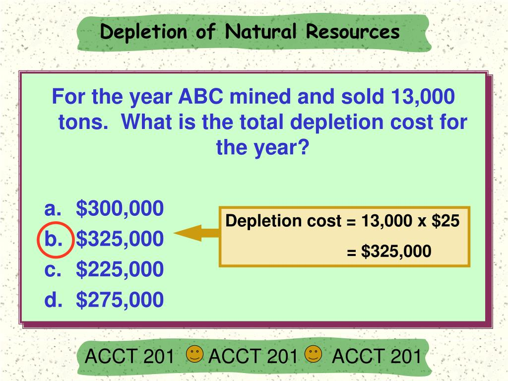 Depletion cost = 13,000 x $25