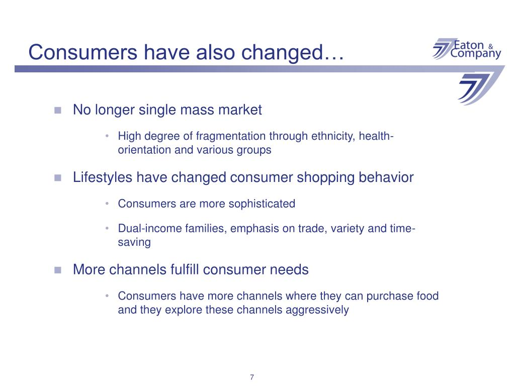 Consumers have also changed…