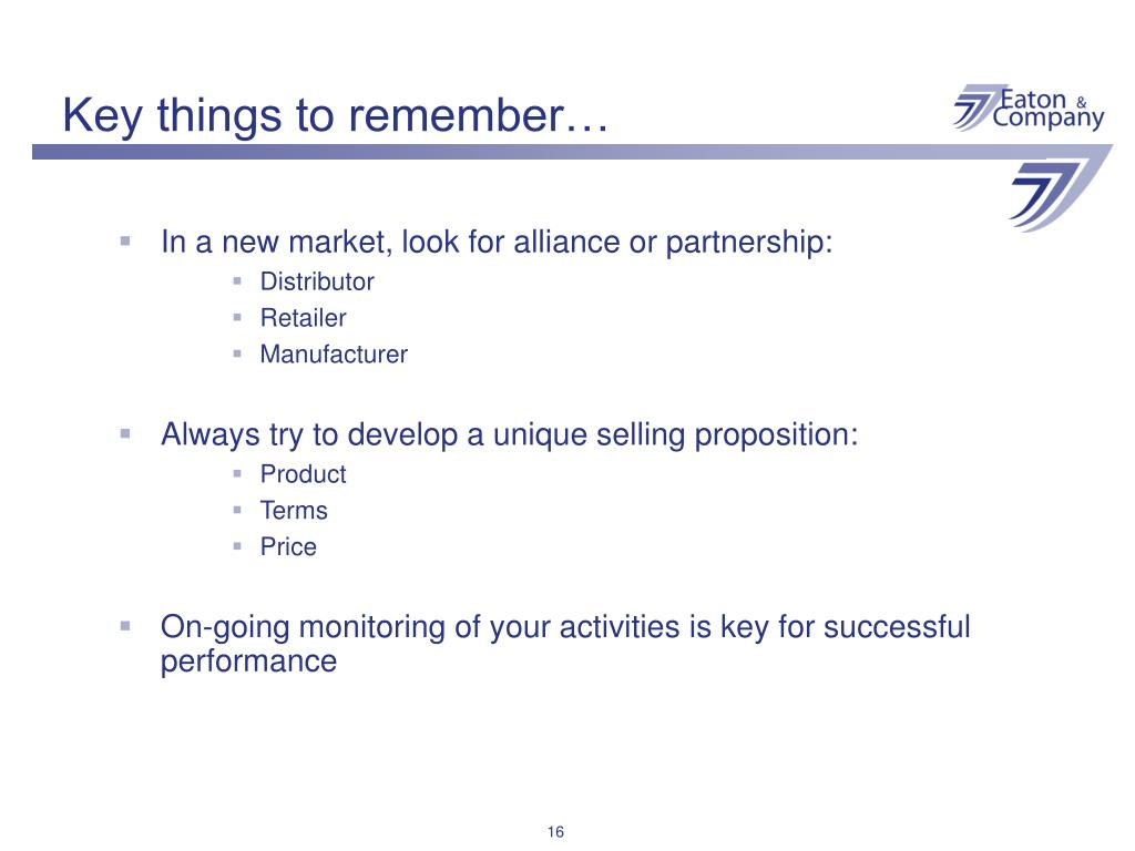 Key things to remember…