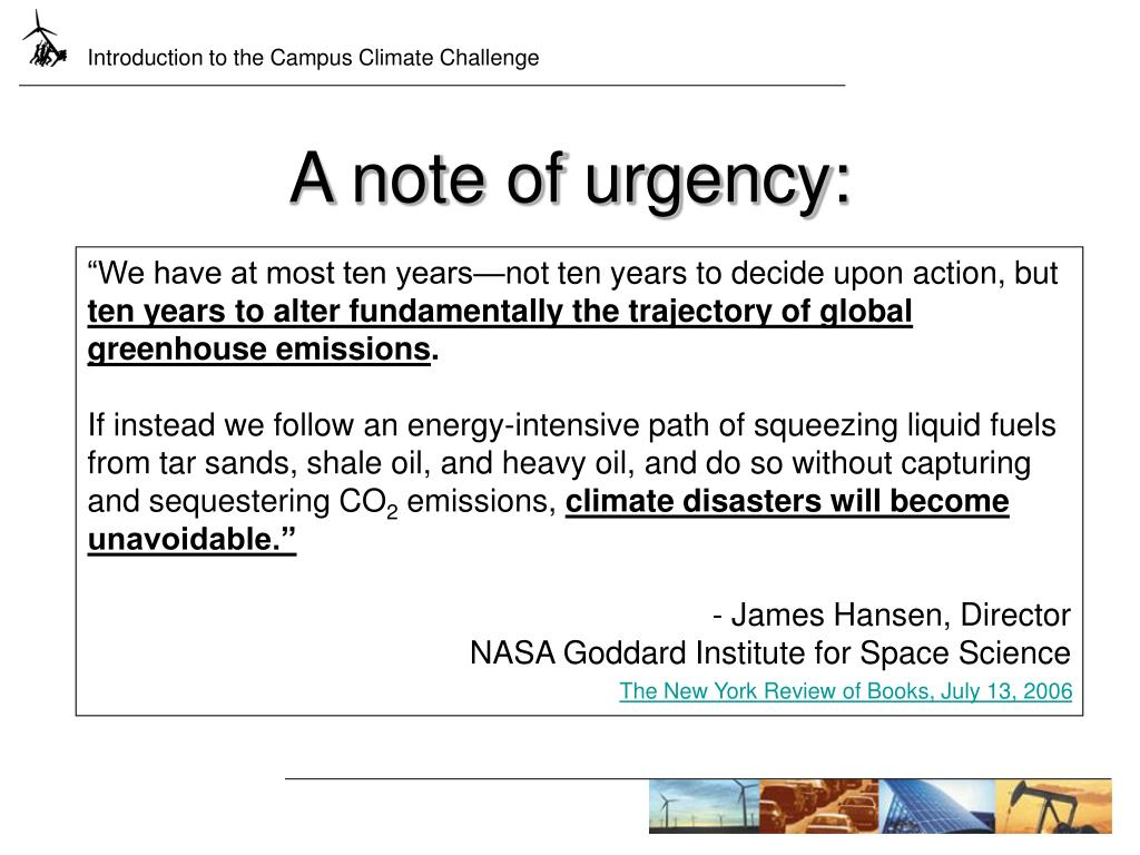 A note of urgency: