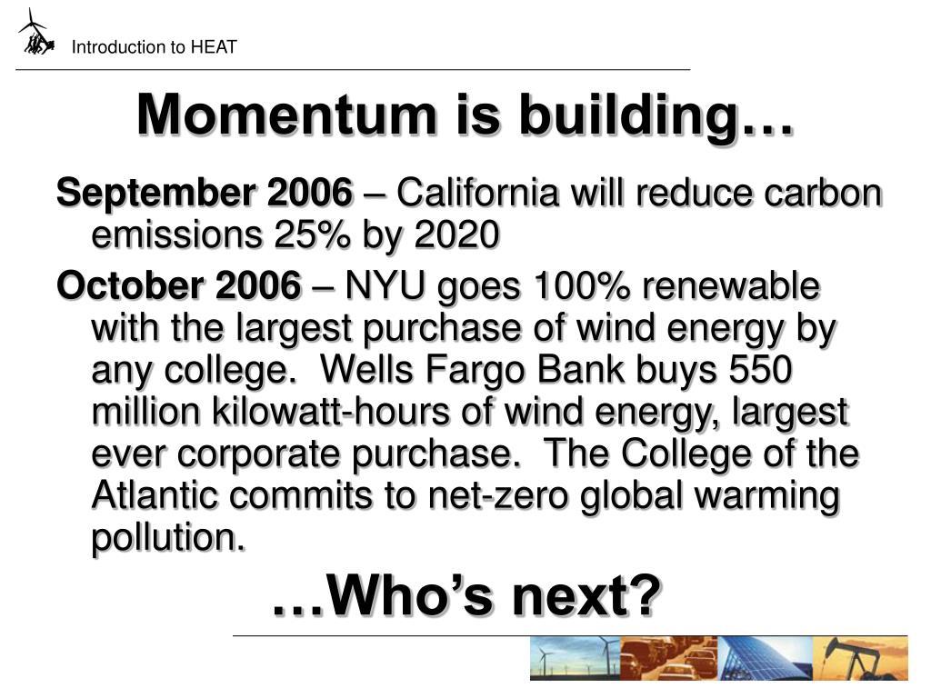 Momentum is building…