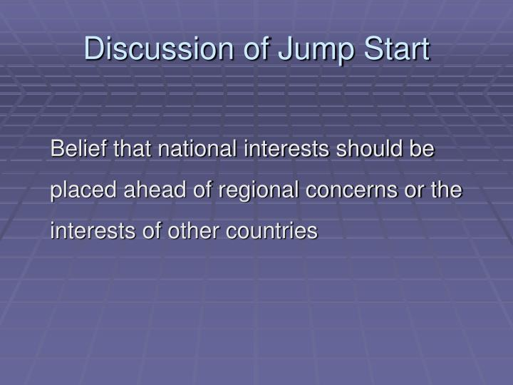 Discussion of jump start