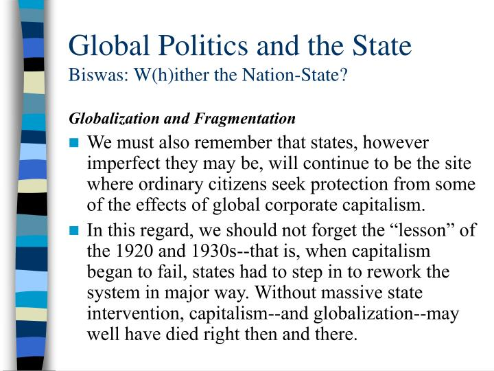 Global Politics and the State