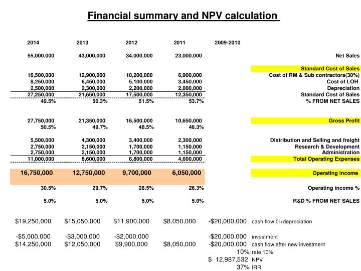 Financial summary and NPV calculation