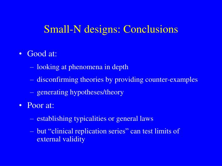 Small-N designs: Conclusions