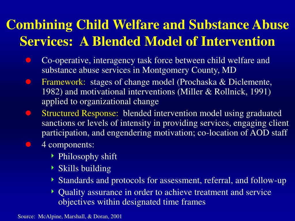 Combining Child Welfare and Substance Abuse Services:  A Blended Model of Intervention