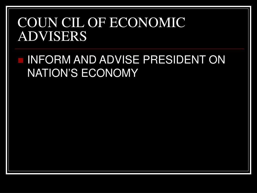 COUN CIL OF ECONOMIC ADVISERS