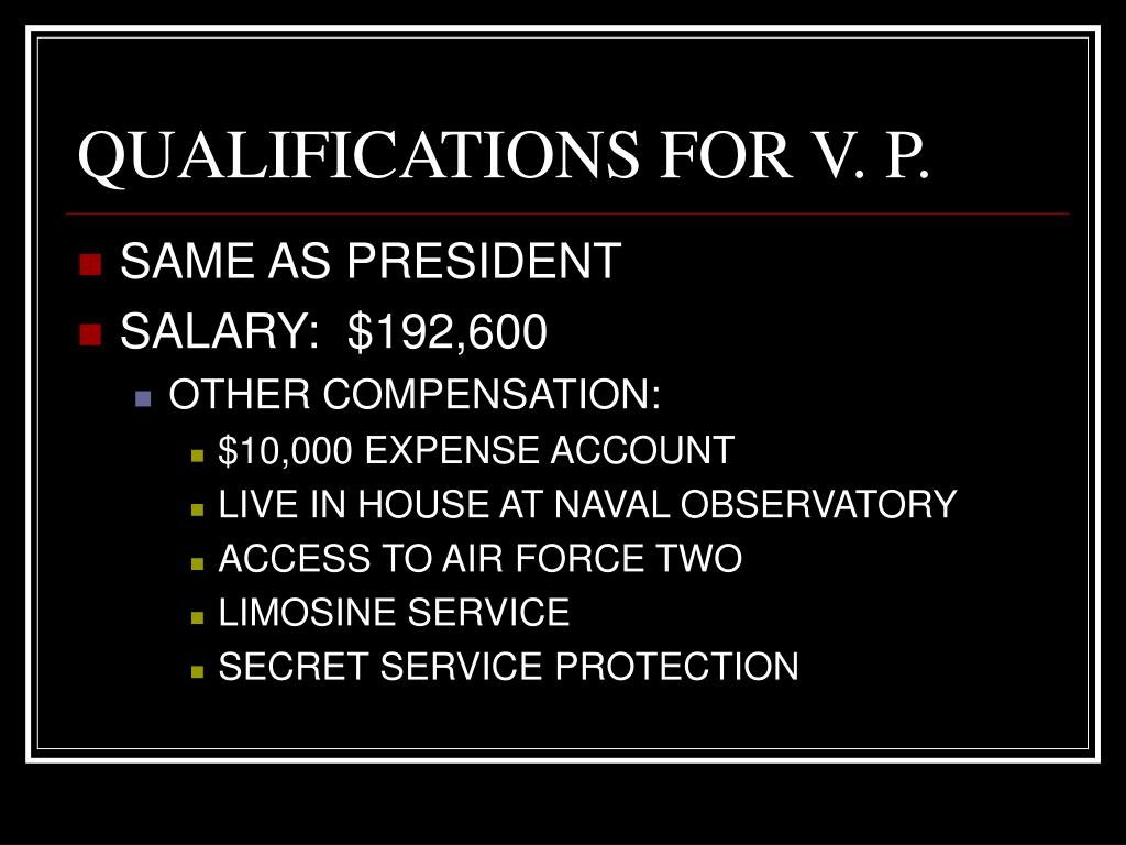 QUALIFICATIONS FOR V. P.