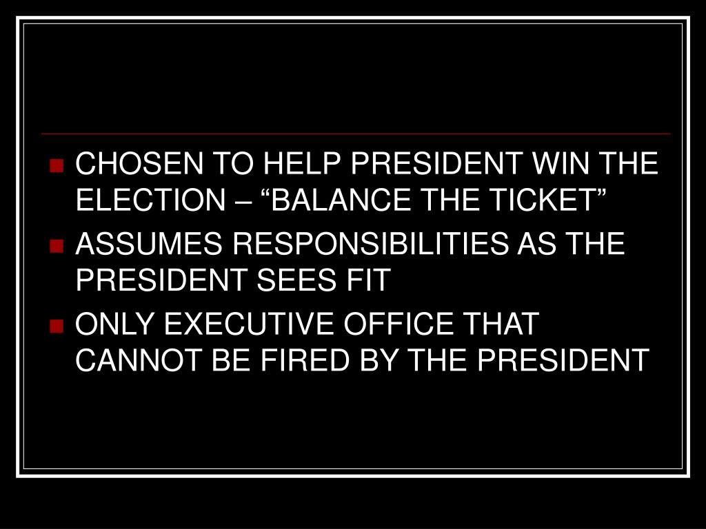 """CHOSEN TO HELP PRESIDENT WIN THE ELECTION – """"BALANCE THE TICKET"""""""