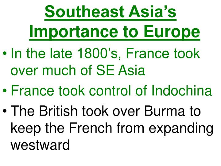 Southeast Asia's Importance to Europe