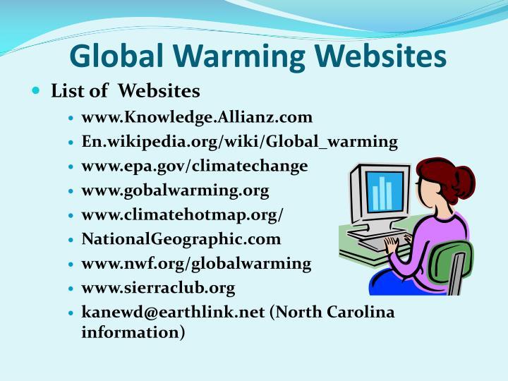Global Warming Websites