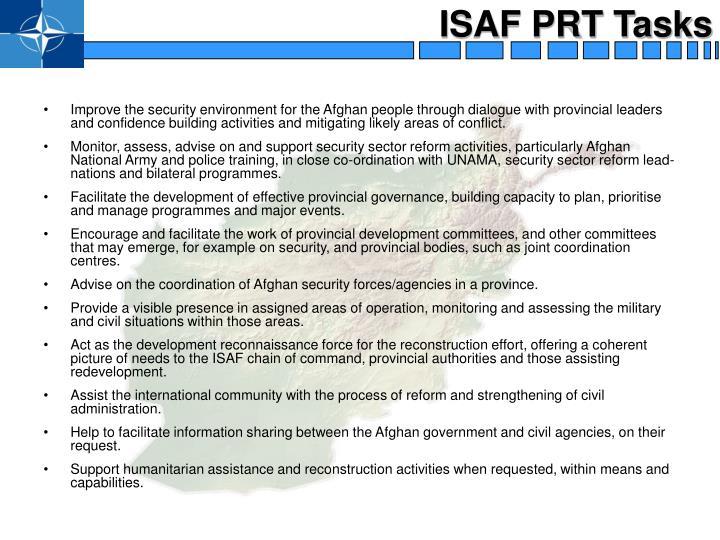 ISAF PRT Tasks