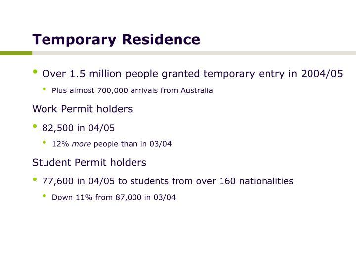 Temporary Residence