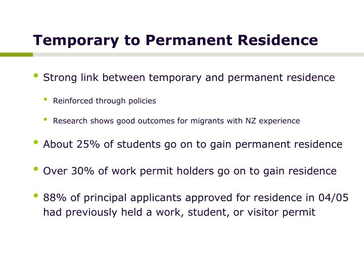 Temporary to Permanent Residence