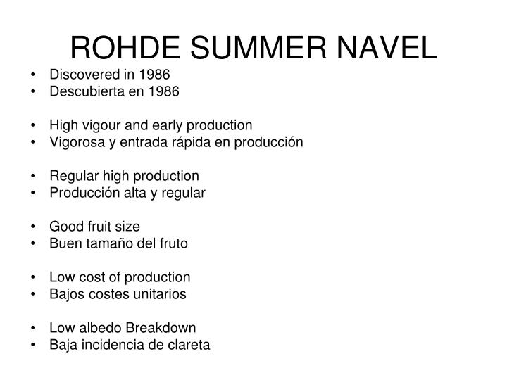 ROHDE SUMMER NAVEL
