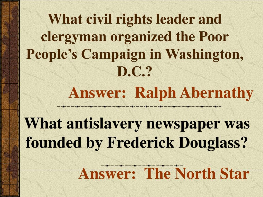What civil rights leader and clergyman organized the Poor People's Campaign in Washington, D.C.?