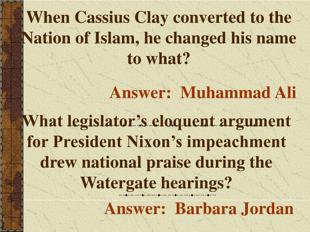 When Cassius Clay converted to the Nation of Islam, he changed his name to what?
