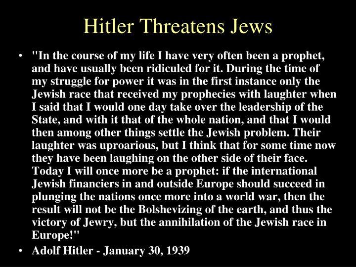 Hitler Threatens Jews